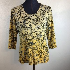 Style & Co Paisley Yellow/Gray Top